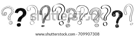 Concept of banner with hand drawn question marks. Vector.