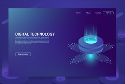 Concept of big data processing center, cloud database, server energy station of future. Digital information technologies.