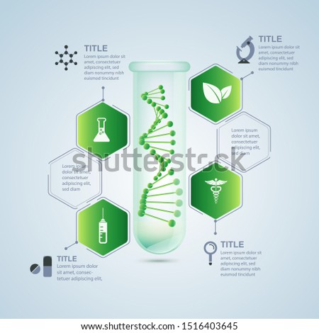 concept of biological research technology or synthetic biology, realistic test tube with DNA inside