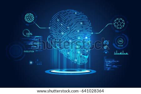 concept of biometric technology, digital Face Scanning, human head combined with electronic board