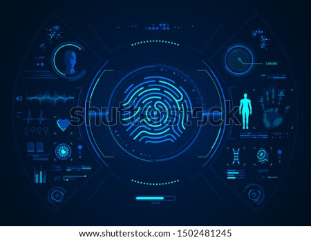 concept of biometrics technology, futuristic fingerprint with identification detection interface