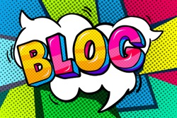 Concept of bloggimg. Blog word bubble with. Message in pop art comic style.
