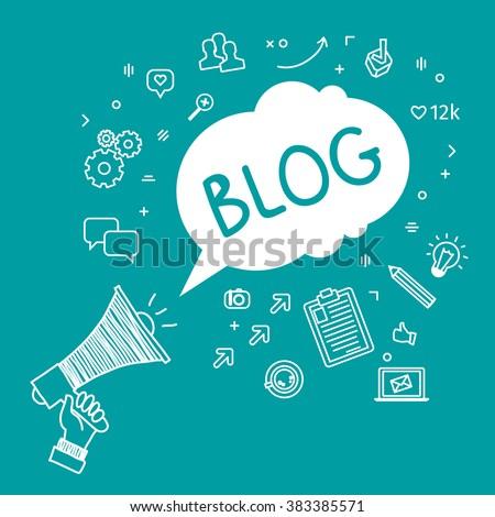 Concept of blogging. Hand Holding Megaphone with Blog. Hand drawn illustration.