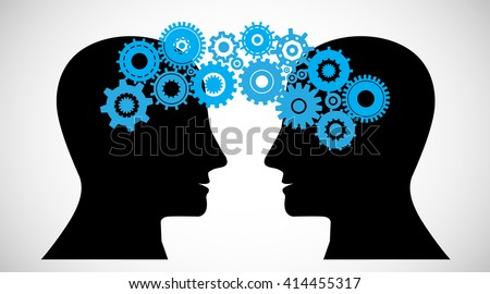 Concept of Brain storming, Knowledge sharing between to people head, this was shown through cogwheels transferring from one human brain to other, this also represents creative mind, innovation