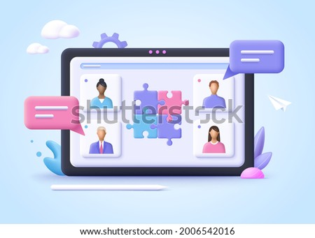 Concept of business cooperation, partnership, collaboration, communication, corporate and cooperative business.  3d realistic vector illustration.