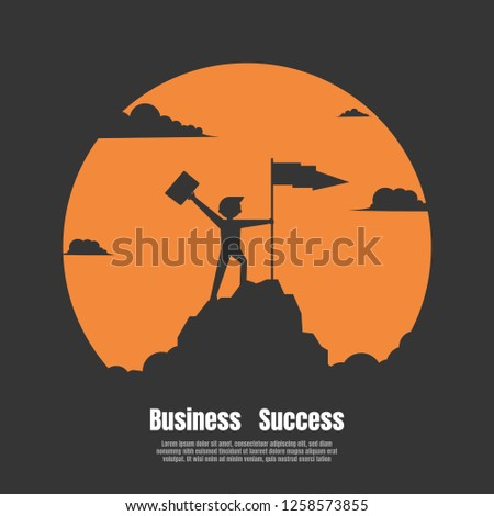 Concept of business financial success. Silhouette businessman holds flag stand on top of mountain celebrating success. Vector illustration flat