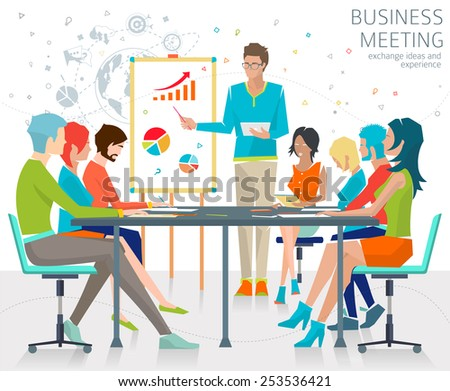 Concept of business meeting / exchange ideas and experience / coworking people / collaboration and discussion / vector illustration