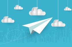 concept of business success. paper airplane white flying on sky between cloud on blue background. startup. creative idea. vector illustration