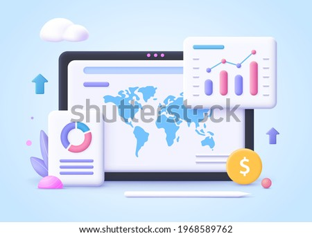 Concept of business trend. Trend analysis and project promotion. 3d vector illustration.