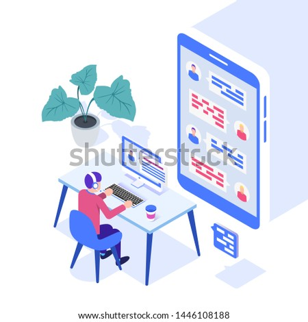 Concept of call center. Technical support or dispatcher call center. Male operator on call center. Isometric vector illustration.