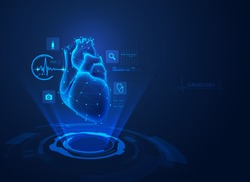 concept of cardiology technology, realistic heart with medical health care hologram