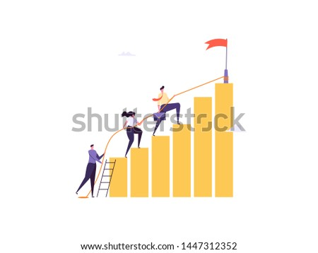 Concept of career, professional growth, supporting employees, coaching, career planning, career development, and team work. Businessmen and employees going to the goal. Vector illustration