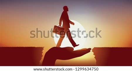 Concept of caring with a businessman sure of himself, who crosses an obstacle by crossing symbolically on a hand that serves as a bridge.