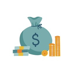 Concept of cash. Money bag, stack coins and banknote, bundles of notes. Vector flat illustration.