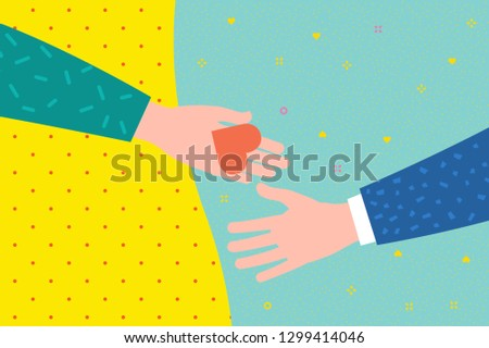 Concept of charity and donation. Give and share your love to people. The hand of the man gives the symbol of heart to the other hand. Flat design, vector illustration.