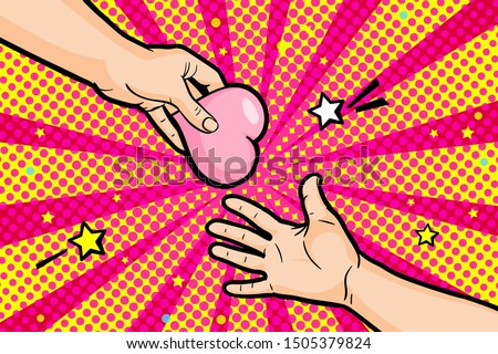 Concept of charity and donation. Give and share your love to people. The hand of the man gives the symbol of heart to the other hand in pop art style. Vector illustration.