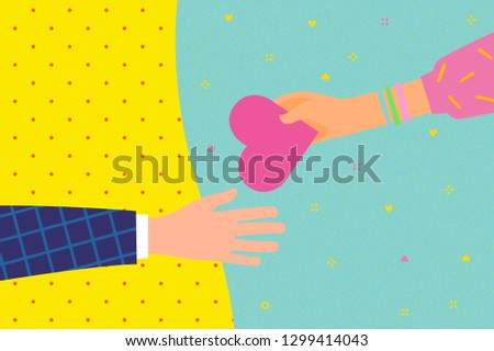 Concept of charity and donation. Give and share your love to people. The hand of the woman gives the symbol of heart to the other hand. Flat design, vector illustration.