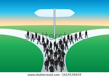 Concept of choice and break with the symbol of a separating path and two groups that leave in opposite directions Stockfoto ©