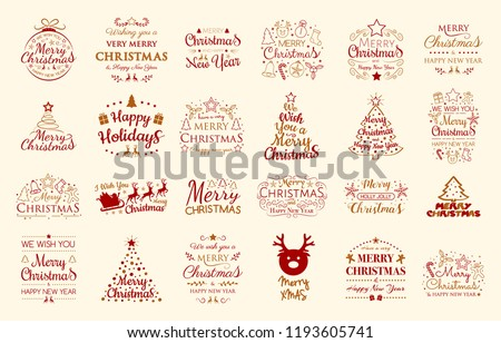 Concept of Christmas decorations with wishes. Vector.