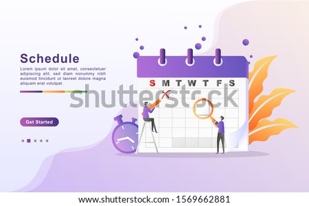 Concept of class timetable or schedule, personal study plan creation, learning time planning and scheduling. Flat design for landing page, banner, web, template, marketing.