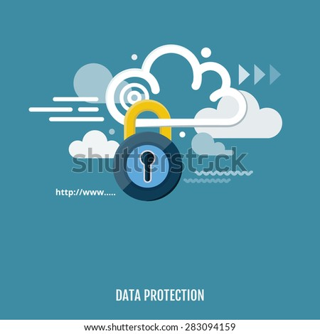 Concept of cloud computing and protecting data. Vector Illustration. Flat design.