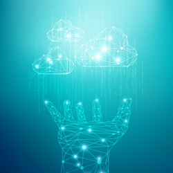 concept of cloud computing technology, wireframe hand holding polygon objects with binary code