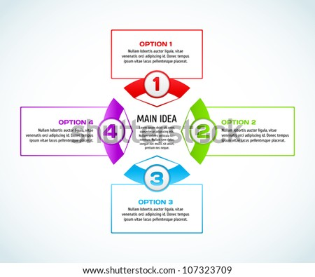 Concept of colorful circular banners with arrows for different business design. Vector illustration.
