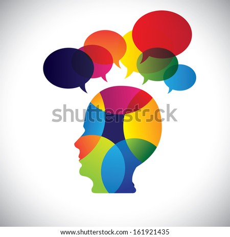 concept of colorful face with puzzles, questions, doubts, ideas. The vector graphic also represents a person icon with talk signs indicating imagination, ideas, opinions, dreams, thoughts, etc