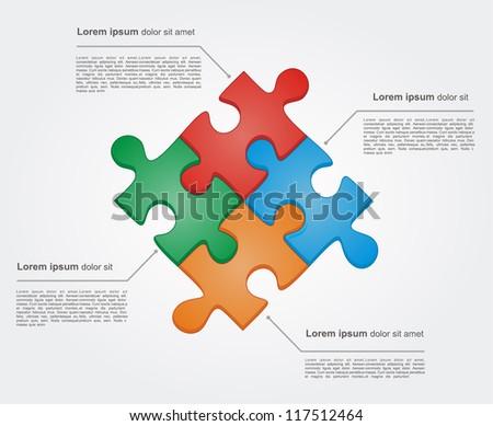 Concept of colorful puzzle pieces with place for yuor text. Vector illustration for different business design