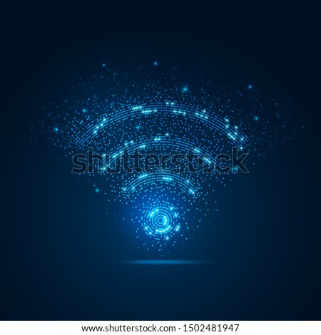 concept of communication technology, dotted wifi sign with blue particle Zdjęcia stock ©