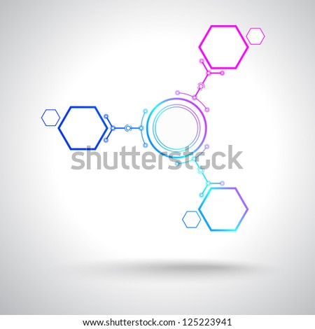 Concept of communication, three connected cells. Vector Graphics