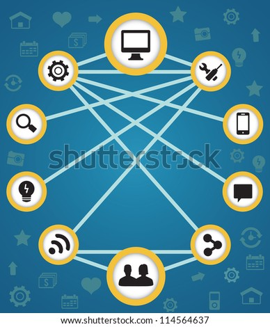 Concept of connection and functions - vector illustration