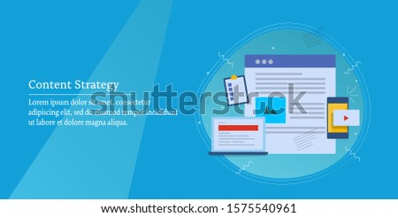 Concept of content strategy, content development, Content marketing, Social media, Video, blogging - flat design vector banner with icons