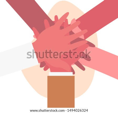 Concept of cooperation, unity, togetherness, partnership, agreement, teamwork, social community or movement. Hands of diverse group of people putting together. Vector illustration