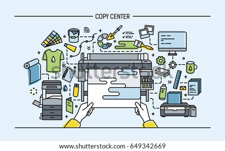Concept of copy center, print shop, publishing. Horizontal banner with printer, monitor,  scanner, different equipment. Colorful vector illustration in lineart style.