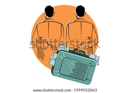 Concept of Corruption, Dishonest or fraudulent conduct by those in power, involving Bribery. Vector illustration of two men hand over money, bribe in suitcase. Stock photo ©