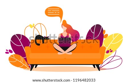 Concept of couchsurfing character or freelancer. Woman sitting on couch and chatting on social media with laptop.