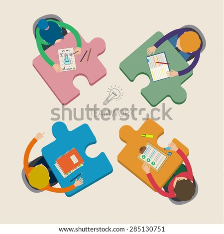 Concept of creative teamwork. Business meeting and brainstorming. Flat design, vector illustration