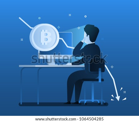 Concept of Crypto currency. Businessman making investments for bitcoin and blockchain. Bitcoin financial system falls. Flat design, vector illustration in blue color.