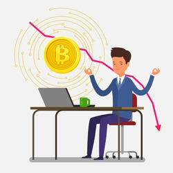 Concept of Crypto currency. Businessman meditates, hi making investments for bitcoin and blockchain. Bitcoin financial system falls. Flat design, vector illustration.