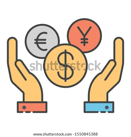 Concept of currency protection, hands having international currencies