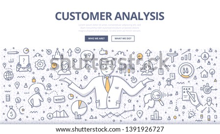 Concept of customer analysis. Businessman analyzing customers, discovering new information, building relationship with target audience. Doodle illustration for web banners, hero images