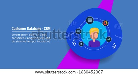 Concept of Customer database, customer experience, Customer relationship management, CRM - vector illustration with icons and character