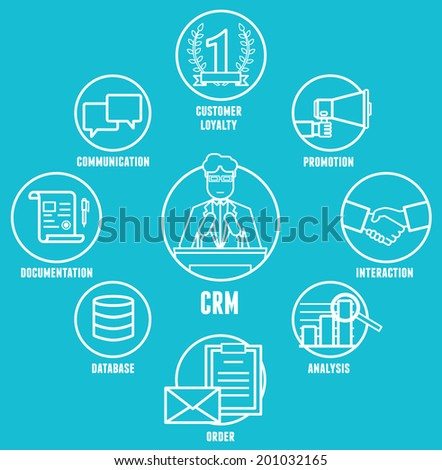 Concept of customer relationship management is a model for managing a company interactions with customers vector illustration