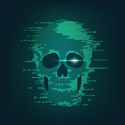 concept of cyber crime, internet piracy and hacking, shape of skull combined with binary code