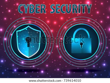 Concept of cyber defense. Shield and lock With Keyhole icon on digital data background. Technology blue background, antivirus protection vector illustration