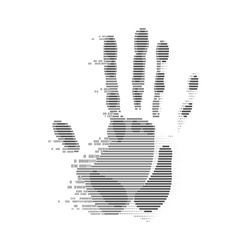 concept of cyber security or biometrics, shape of handprint combined with binary code