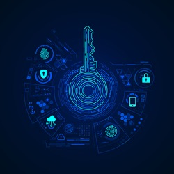 concept of cyber security or private key, abstract digital key with technology interface