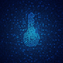 concept of cyber security or private key in cryptocurrency technology, shape of key combined with fingerprint and electronic pattern