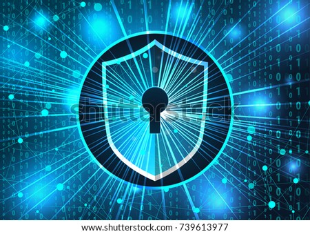 concept of cyber security. Shield with keyhole on a background of blue technology. Protection against hackers and viruses vector illustration